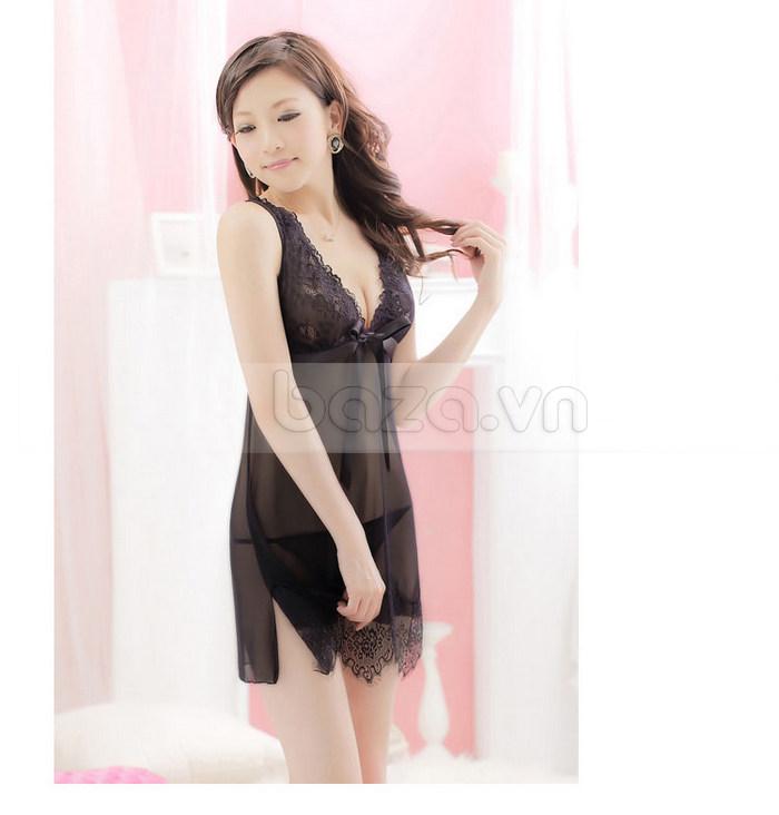 Bộ đồ ngủ nữ ren mỏng sexy Hamuse quyến rũ từng đường nét