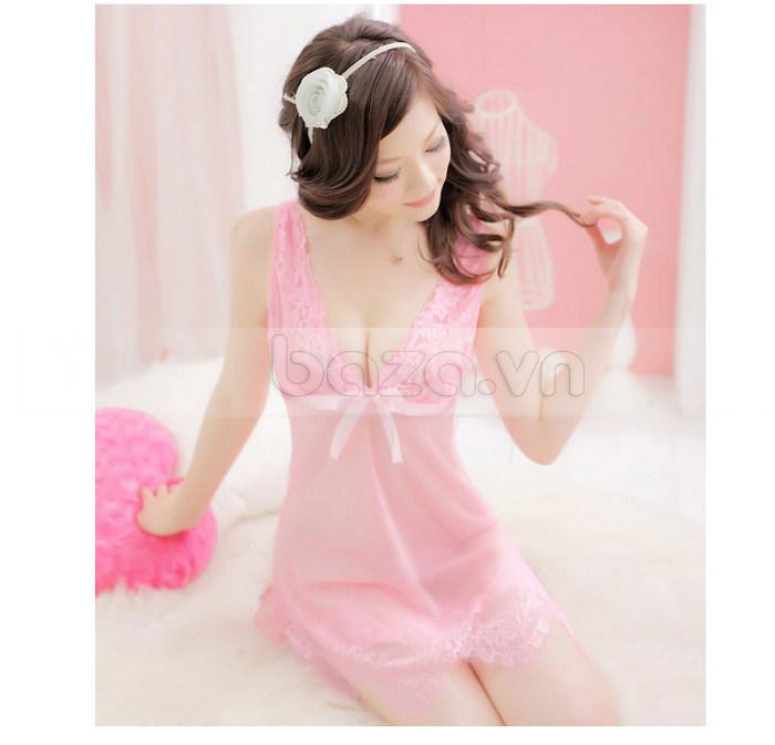 Bộ đồ ngủ nữ ren mỏng sexy Hamuse - màu hồng quyến rũ