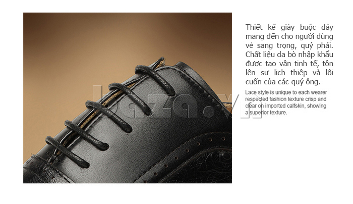Giày da nam VANGOSEDUN VG78801 thiết kế dây buộc bền đẹp