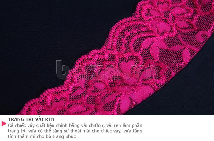 Váy ngủ chân phối ren quyến rũ Hamuse 551012 phối màu hấp dẫn
