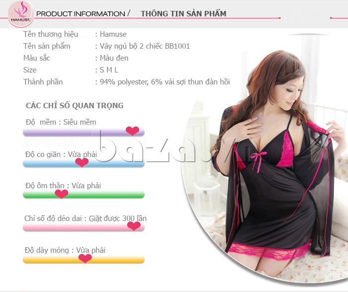 Váy ngủ phối ren quyến rũ Hamuse 551012