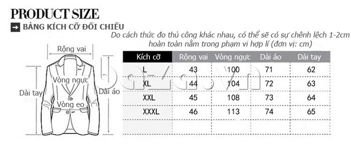 Kích thước của Áo khoác nam thu đông kiểu Hàn CTHAPINE 3562169