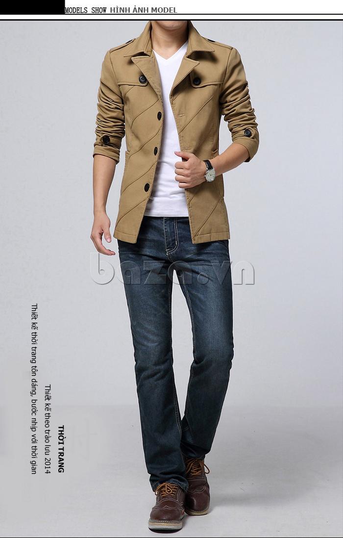 Áo khoác nam dài tay màu kaki CTHAPINE 3562169