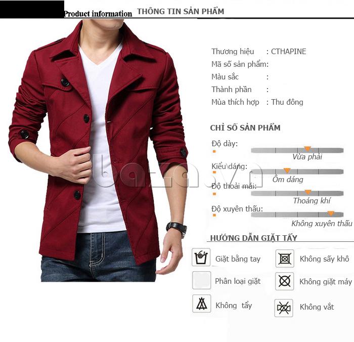 Thông tin sản phẩm Áo khoác nam thu đông kiểu Hàn CTHAPINE 3562169