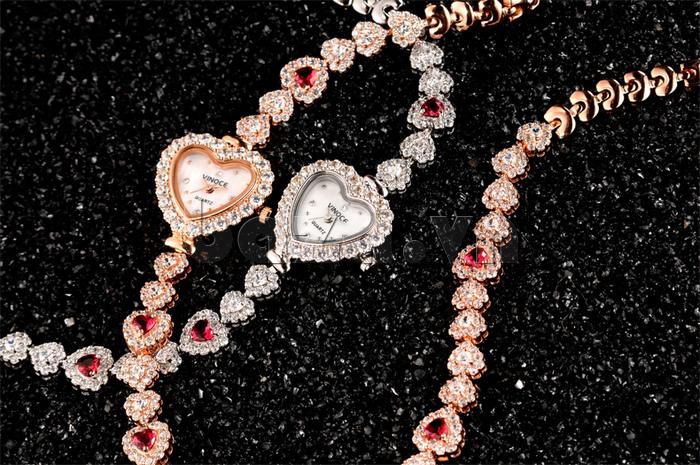 Đồng hồ nữ mặt trái tim Vinoce V633248G màu sắc tươi như hoa