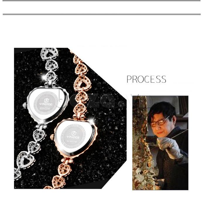 Đồng hồ nữ mặt trái tim Vinoce V633248G  sang trọng , ấn tượng vẻ đẹp