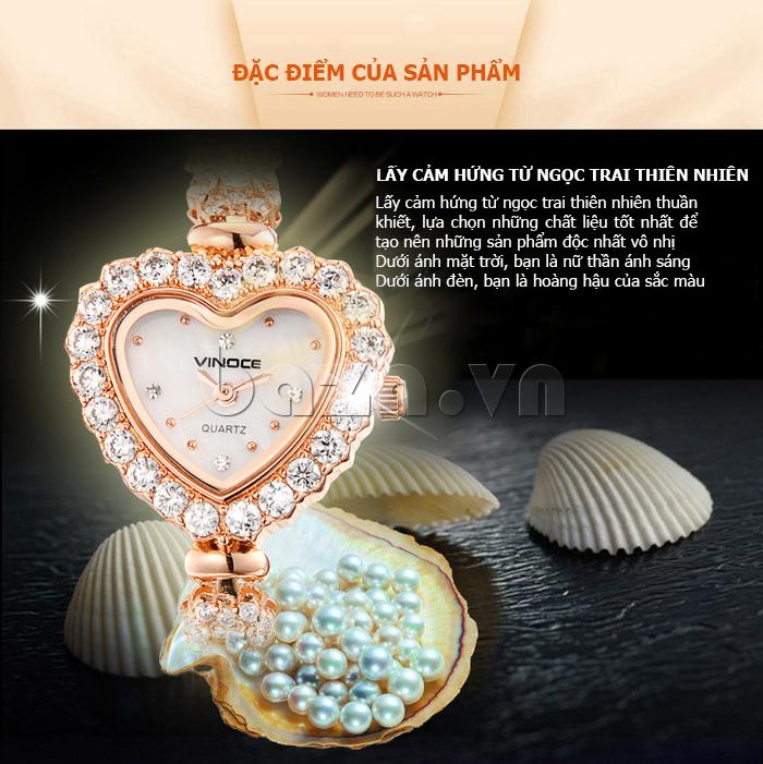 Đồng hồ nữ mặt trái tim Vinoce V633248G lấy cảm hứng từ ngọc trai tự nhiên