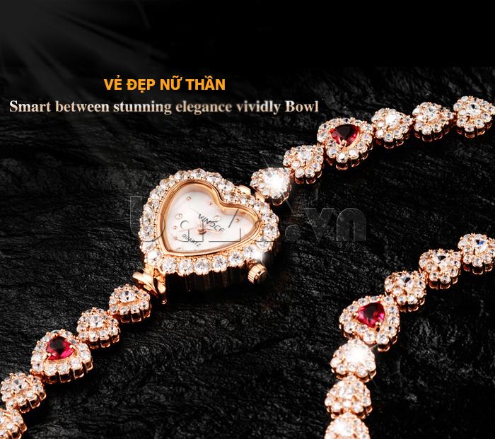 Đồng hồ nữ mặt trái tim Vinoce V633248G vẻ đẹp nữ thần