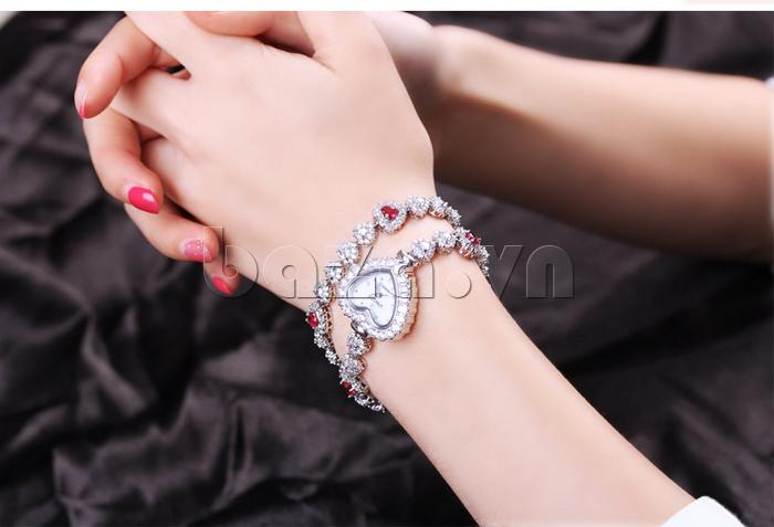 Đồng hồ nữ mặt trái tim Vinoce V633248G  mặt hình trái tim tinh tế