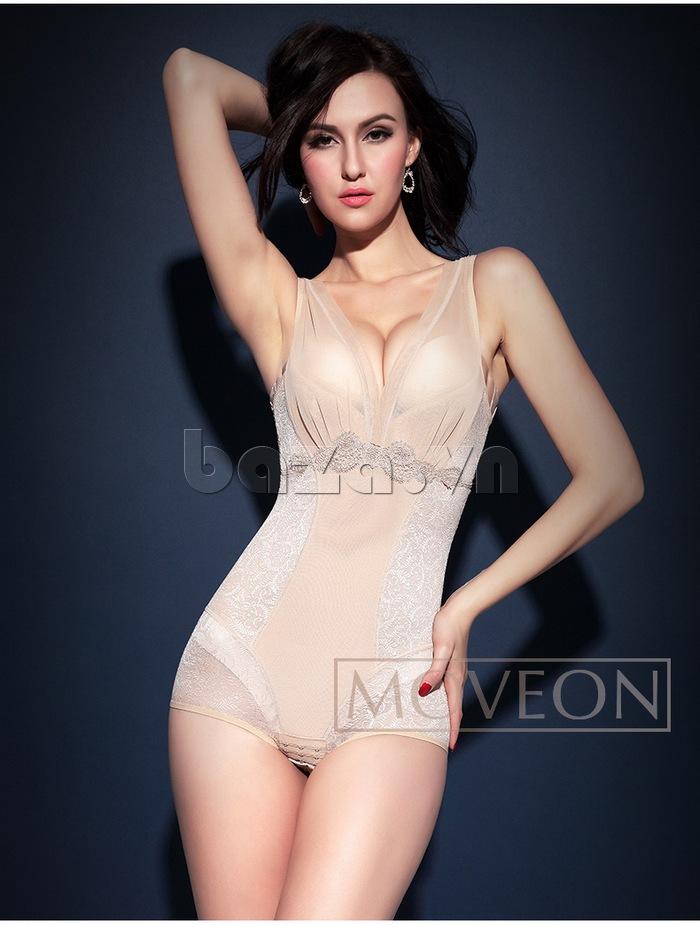 áo định hình liền thân nữ màu nude Moveon MS2153