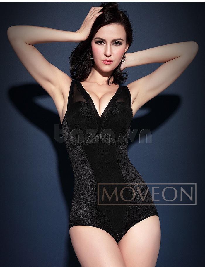 áo lót vải lụa pha collagen định hình liền thân nữ Moveon MS2153
