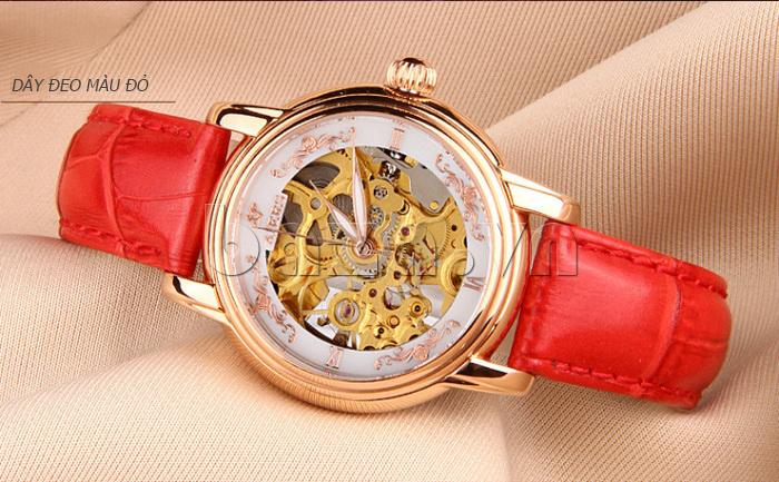 Đồng hồ cơ nữ Aiers B202L dây đeo màu đỏ