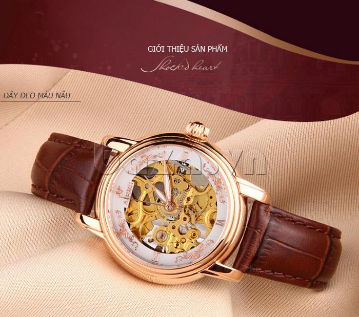 Đồng hồ cơ nữ Aiers B202L chạm rỗng tinh xảo