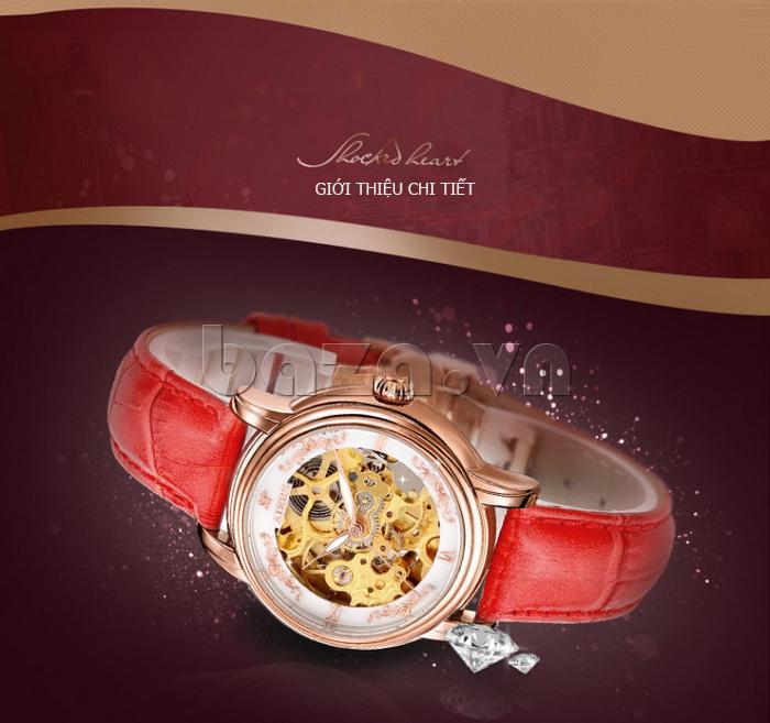 Đồng hồ cơ nữ Aiers B202L dây đeo da