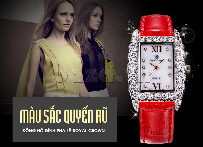 Chiếc đồng hồ nữ Royal Crown mang màu sắc quyến rũ với viền pha lê nổi bật