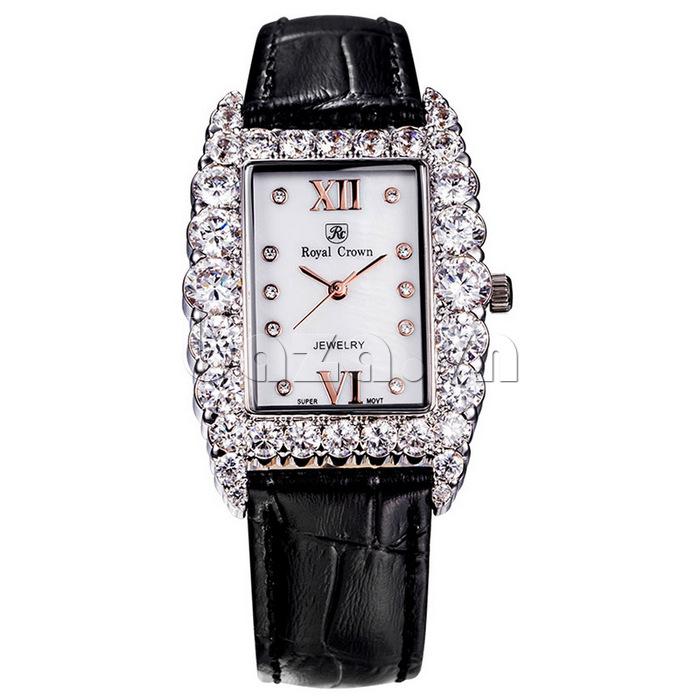 Đồng hồ nữ dây da đen Royal Crown 6111