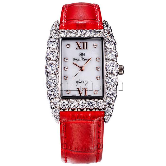 Đồng hồ nữ dây da đỏ tươi Royal Crown 6111