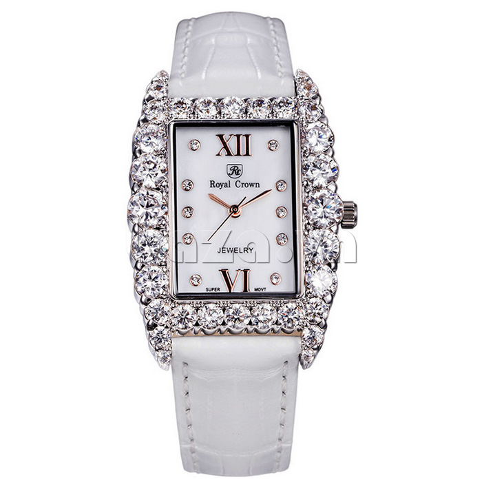 Đồng hồ nữ dây da trắng Royal Crown 6111