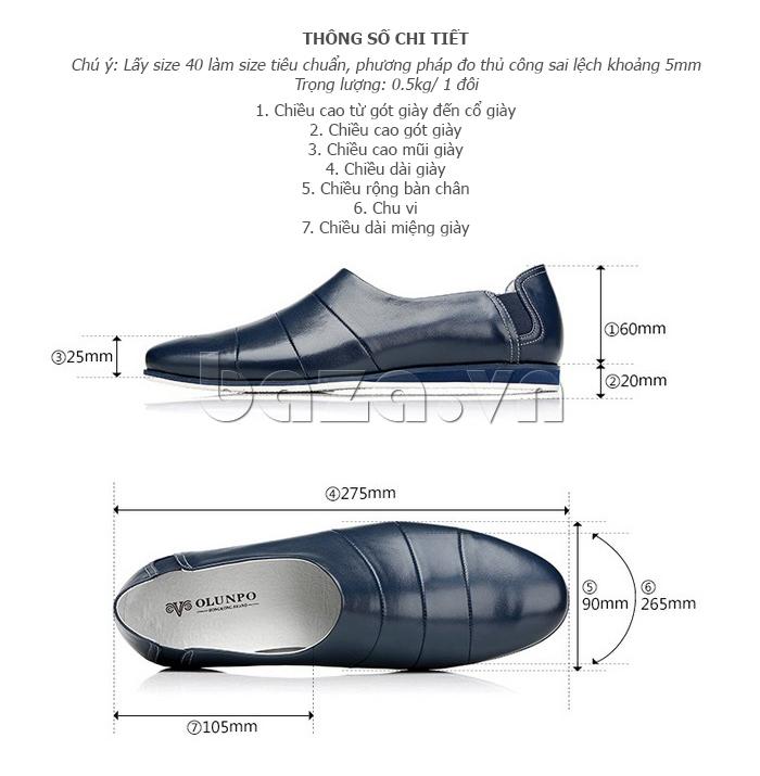 Kích thước của Giày da nam gót chun Olunpo CCY1505