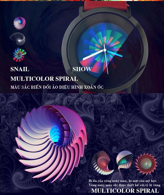 Đồng hồ thời trang Time2U 91-19049 màu sắc biến hóa theo hình xoắn ốc