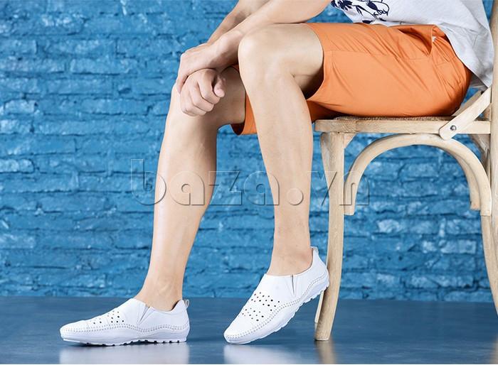 Giày lười nam da thật đục lỗ Olunpo XHT1502 - thiết kế trẻ trung