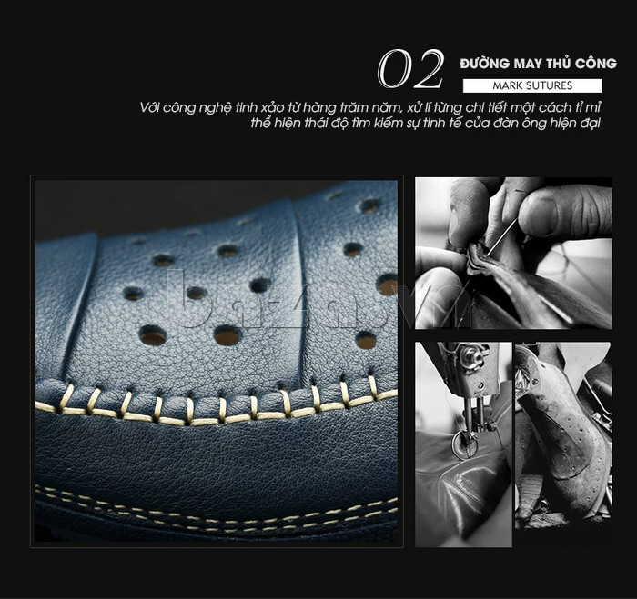 Giày lười nam da thật đục lỗ Olunpo XHT1502 - thiết kế tinh xảo