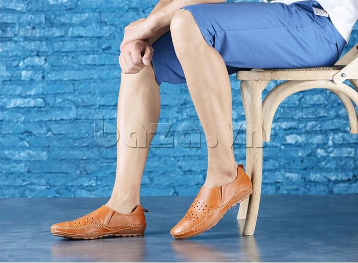 Giày mùa hè - Giày lười nam da thật đục lỗ Olunpo XHT1502