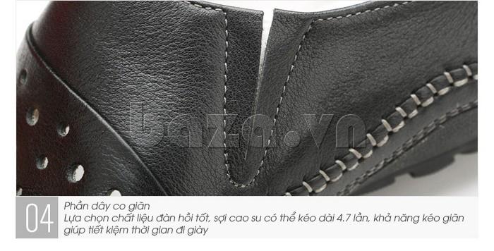 Giày lười nam da thật đục lỗ Olunpo XHT1502 - cổ giày co giãn