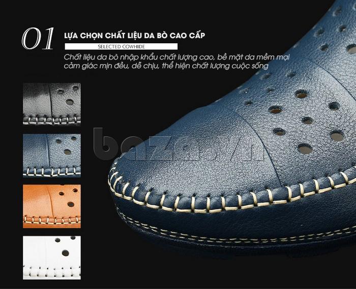 Giày lười nam da thật đục lỗ Olunpo XHT1502 - da bò cao cấp