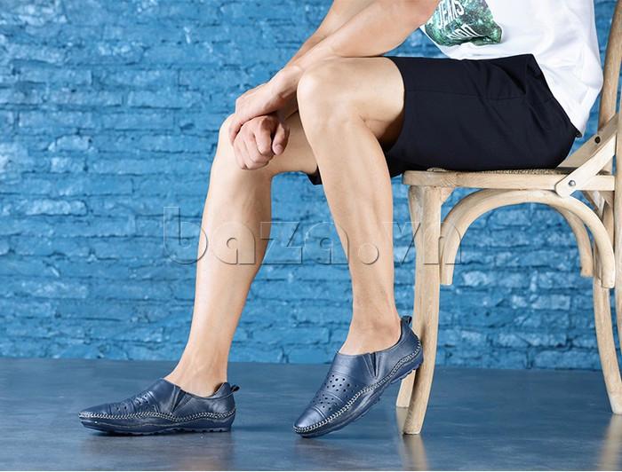 Giày lười nam da thật đục lỗ Olunpo XHT1502 sáng tạo