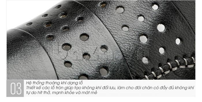 Giày lười nam da thật đục lỗ Olunpo XHT1502 - giầy đục lỗ thoáng khí