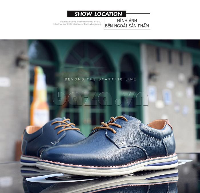 Giày da nam mũi tròn Simier 8126 cá tính và nổi bật