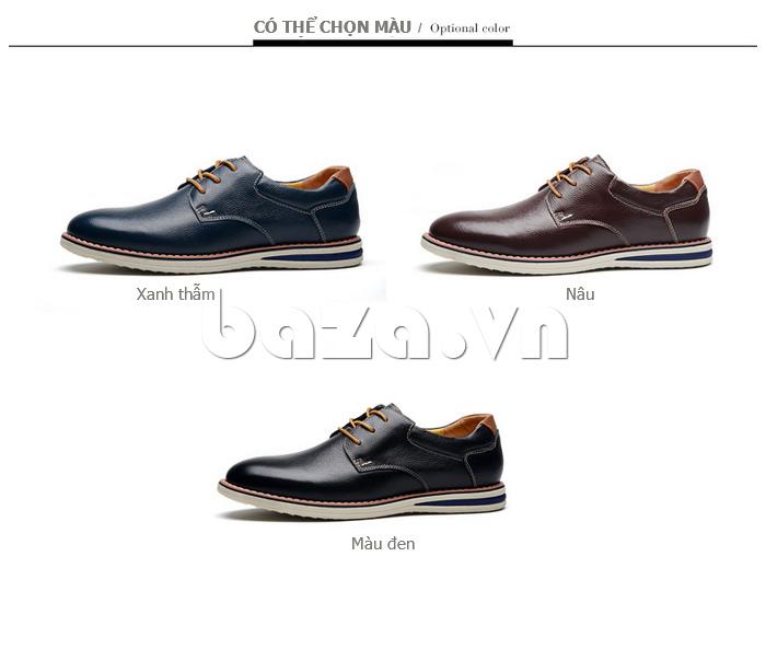 Giày da nam mũi tròn Simier 8126 gam màu cá tính