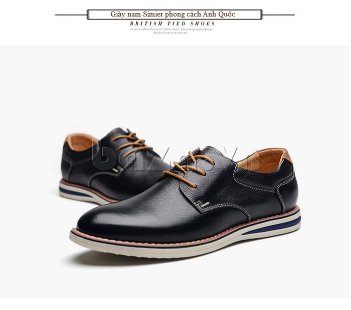 Giày da nam mũi tròn Simier 8126 - giày công sở sành điệu