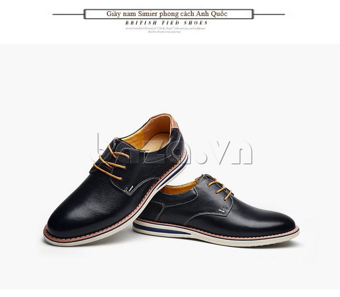 Giày da nam mũi tròn Simier 8126 đẳng cấp giày nam mới
