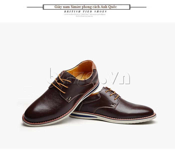 Giày da nam mũi tròn Simier 8126 tạo sự khác biệt