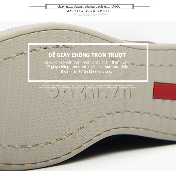 Giày da nam mũi tròn Simier 8126 - đế chống trơn hoàn hảo