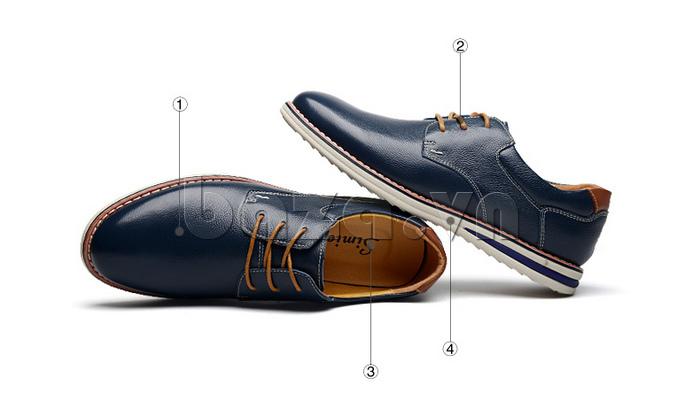 Giày da nam mũi tròn Simier 8126 tinh tế từng chi tiết