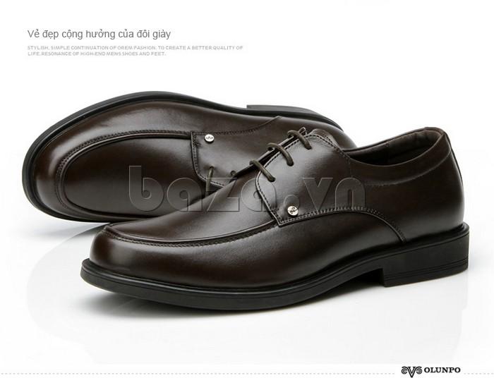 giầy da cao cấp OLUNPO QYS1201 màu nâu sang trọng
