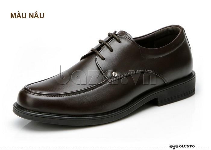 giầy da cao cấp OLUNPO QYS1201 màu nâu cá tính
