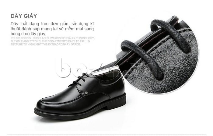 giầy da cao cấp OLUNPO QYS1201 thiết kế dây giày dạng tròn đơn giản