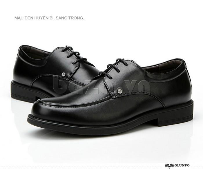 Màu đen của giầy da cao cấp OLUNPO QYS1201 thể hiện sự huyền bí, sang trọng
