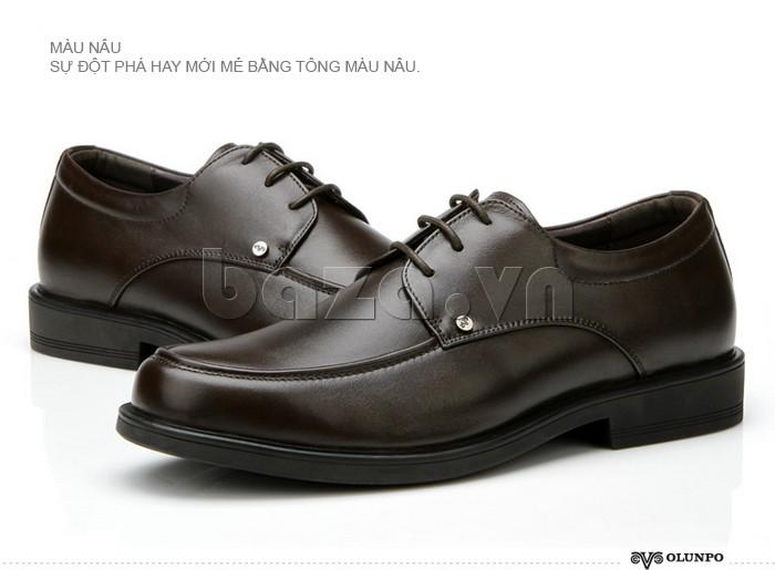 giầy da cao cấp OLUNPO QYS1201 màu nâu là sự đột phá tích cực của thời trang nam