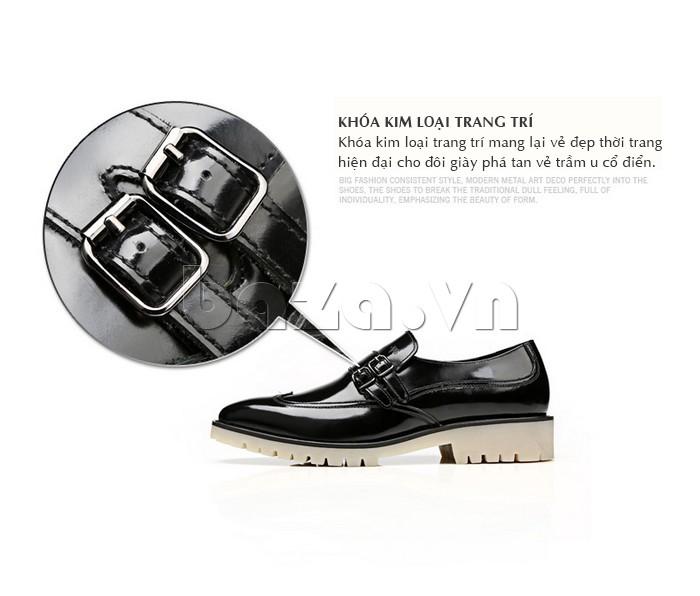 Giầy da nam thời trang Olunpo QEY1301 có khóa kim loại đẹp mắt