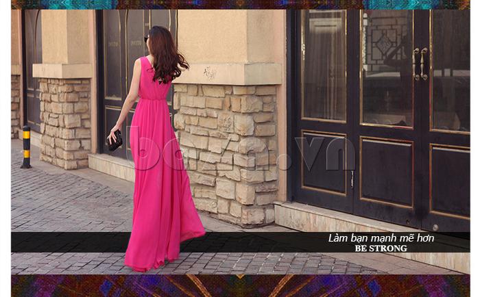 Váy maxi nữ dáng dài Jiumeixuehu JMXHLYQ22 hồng phấn