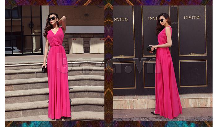 Váy maxi nữ dáng dài Jiumeixuehu JMXHLYQ22 màu hồng
