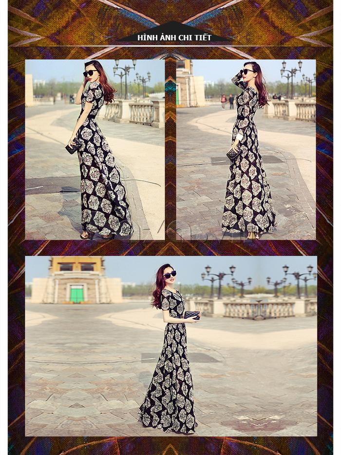 Đầm Maxi ren in hoa Jiumeixuehu JMXHLYQ34