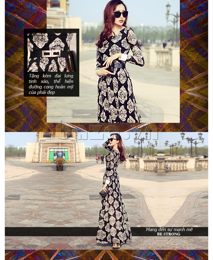 Đầm Maxi in hoa Jiumeixuehu JMXHLYQ34