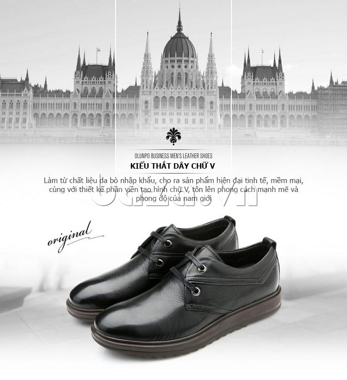 Giày da nam Olunpo QZK1404 độc đáo bởi kiểu thắt dây chữ V