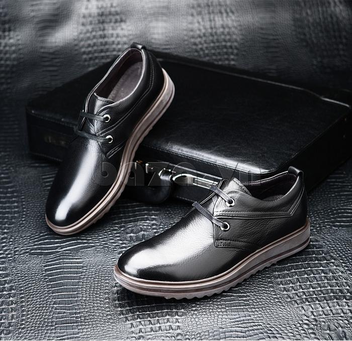 Giày da nam Olunpo QZK1404 mau đen tinh tế huyền bí